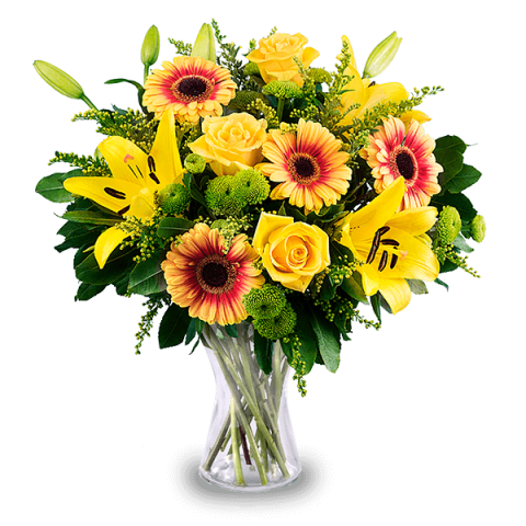 Plaisirs d'Été : Roses, Lys et Gerberas
