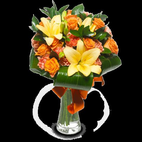 Sueño de Tahití: Lirios y Rosas Naranjas