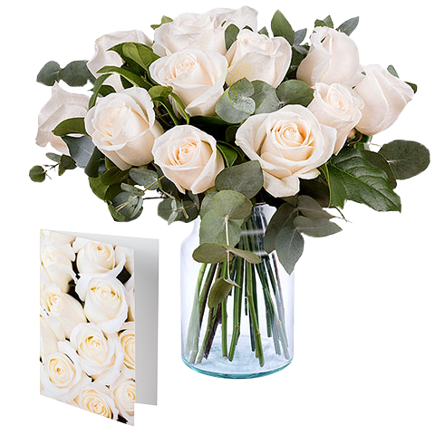 Snowflakes: 12 White Roses and Card