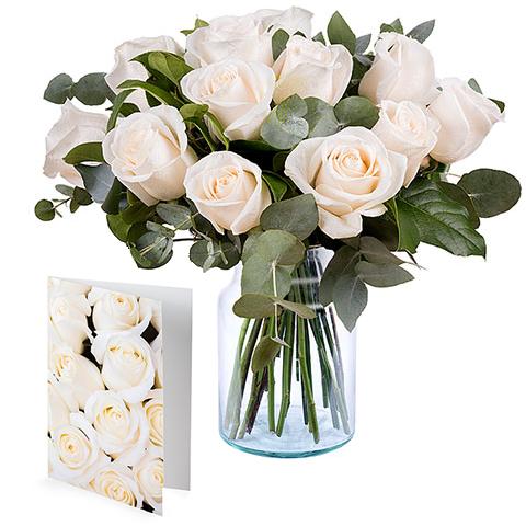 Copos de nieve: 12 Rosas blancas y una tarjeta