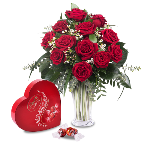 12 roses rouges et chocolats