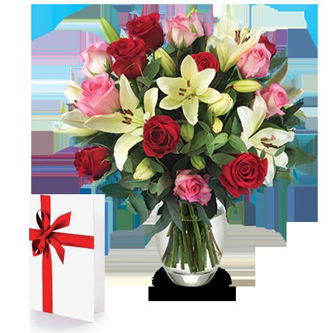 envoyer un bouquet de roses et lys floraqueen. Black Bedroom Furniture Sets. Home Design Ideas