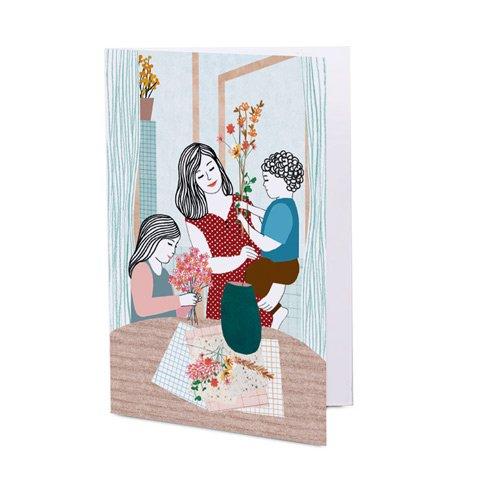 Jugando con las flores - tarjeta
