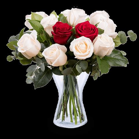 Livrer un bouquet de roses rouges et blanches floraqueen for Livrer un bouquet