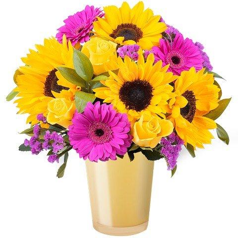 Lichtstrahl: Sonnenblumen und Gerbera
