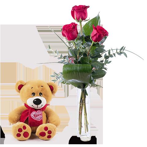 Primer Amor: Osito y 3 Rosas Rojas