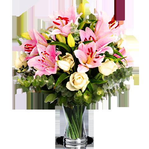 Natur Poesie: Lilien und Rosen