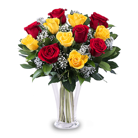 12 Red And Yellow Roses Rose Bouquet Delivery Floraqueen