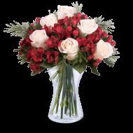 Radosny Dzień: Białe Róże i Alstromerie