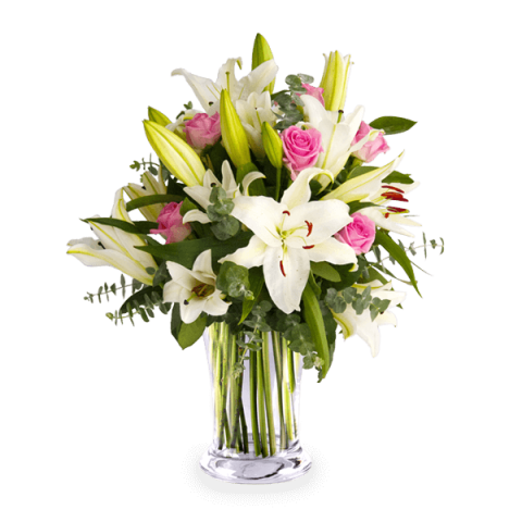 Pink Roses And White Lilies International Flower Delivery Floraqueen