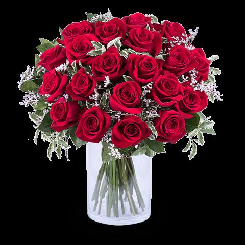 20 rote rosen als strau blumenversand international. Black Bedroom Furniture Sets. Home Design Ideas