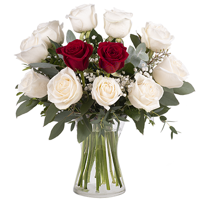 Red And White Roses International Flower Delivery Floraqueen