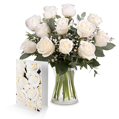 12 White Roses And Card Birthday Flowers And Gifts Floraqueen