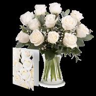 Pur Bonheur : 12 roses blanches et une carte