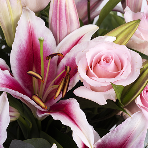 Pink Seduction: Roses and Lilies