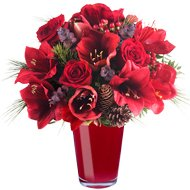 Bouquet portafortuna: amarallys e rose rosse